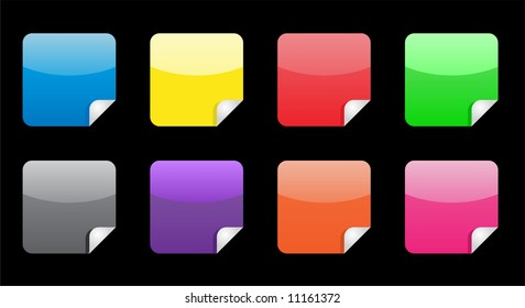 8 nice glossy stickers with fold up (blue, yellow, red, green, gray, purple, orange, pink).