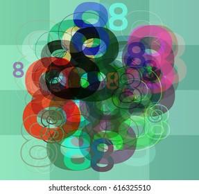 8 Number template design