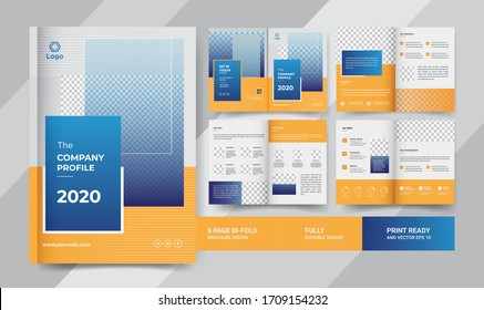 8 Pages Creative Business Brochure with modern abstract design. Use it business presentations and Multi Purpose design eps 10