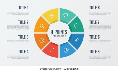 8 points, options, parts, processes, work flowsteps, steps infographic element circle shaped vector. business presentation template.