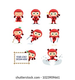 8 Red Ninja Mascot -  simple to edit, well layered (all ninja have his own layer) isolated object, 100% vector