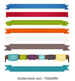 8 Ribbons, Isolated On White Background, Vector Illustration