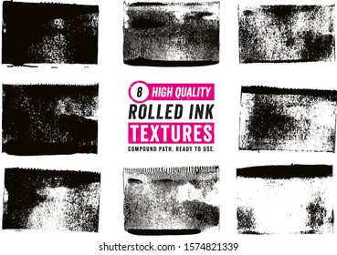 8 Rolled Ink Rectangle Textures