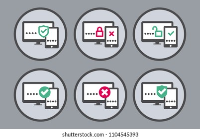 8 round vector two factor authentication icons on grey background