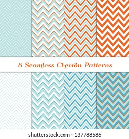 8 Seamless Chevron Patterns in Aqua Blue, Turquoise, White and Coral Orange. Pattern Swatches made with Global Colors included. Matches my other pattern packs Image IDs: 121349323 and ID: 128027705
