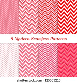 8 Seamless Chevron Patterns in Red, Deep Pink, Pale Pink and White. Pattern Swatches Included. Global colors - makes it easy to change all patterns in one click. Modern Valentine Day Backgrounds.