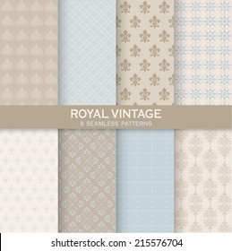 8 Seamless Patterns. Royal Vintage Set for texture, wallpaper, background, scrapbook in vector