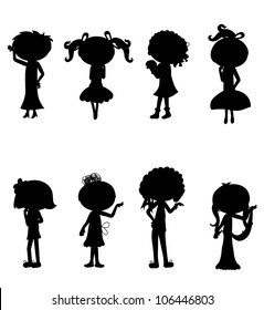 8 sets of cute cartoon fashion girls silhouettes