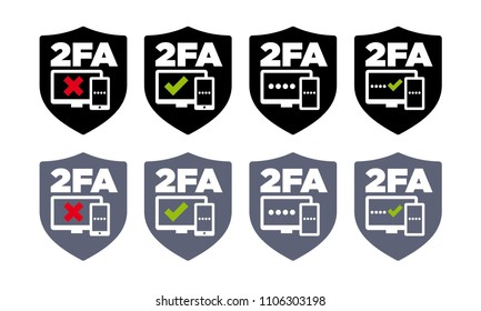 8 shield shaped vector two factor authentication icons on white background