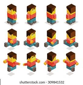 8 sided character set. isometric art
