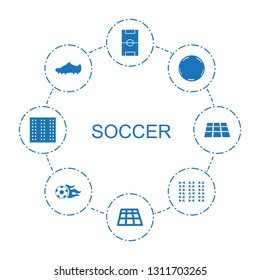 8 soccer icons. Trendy soccer icons white background. Included filled icons such as football pitch, dance floor, fotball, soccer trainers, field. icon for web and mobile.