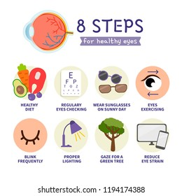8 steps for healthy eyes. Medical, healthcare and dietary concept.