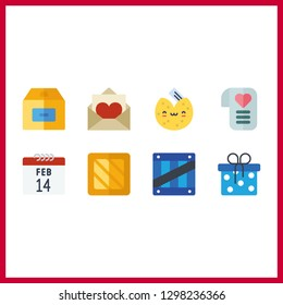 8 surprise icon. Vector illustration surprise set. box and love letter icons for surprise works