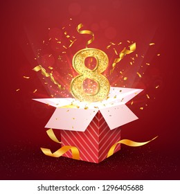 8 th year number anniversary and open gift box with explosions confetti isolated design element. Template eight eighth birthday celebration on red background vector Illustration.