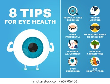 8 tips for eye health infographic.how to health care eyes,strain,ophthalmology.Strong eyeball strain character.Vector modern cartoon character illustration icon design.Isolated on white background