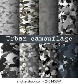 8 Urban camo patterns set vector