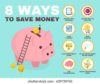 8 way to save money infographic. pig money box isometric character. vector flat cartoon illustration icon design. no credit, money, bankrupt, bank. concept, saving finance money, plan, budget