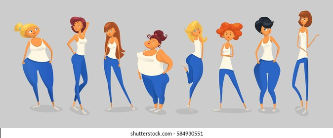 8 Woman Different Body Shapes Set