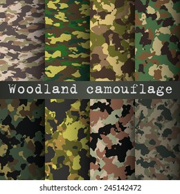 8 woodland camo patterns set vector