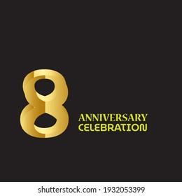 8 YEAR ANNIVERSARY CELEBRATION VECTOR DESIGN TEMPLATE ILLUSTRATION