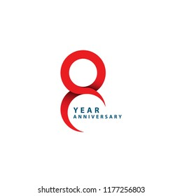 8 Year Anniversary Vector Template Design Illustration