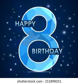 8 year birthday celebration label, 8th anniversary decorative polygon emblem - vector illustration
