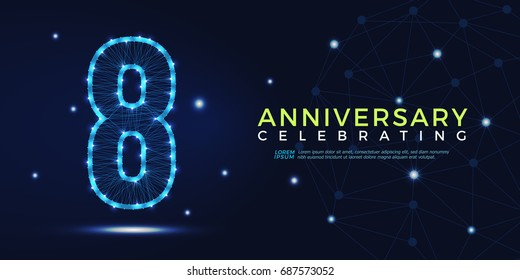 8 years anniversary celebrating numbers vector abstract polygonal silhouette. 8th anniversary concept. vector illustration