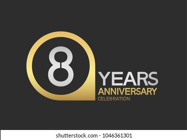 8 years anniversary celebration simple design with golden circle and silver color combination