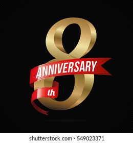 8 Years Anniversary Golden Logo Celebration with Red Ribbon