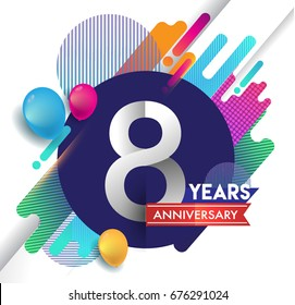 8 years Anniversary logo with colorful abstract background, vector design template elements for invitation card and poster your birthday celebration.