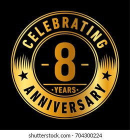 8 years anniversary logo. Vector and illustration.