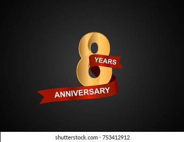 8 years anniversary logotype with elegance gold color and warp red ribbon