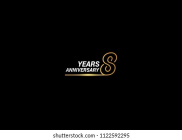 8 Years Anniversary logotype with golden colored font numbers made of one connected line, isolated on white background for company celebration event, birthday