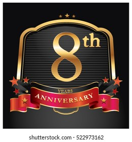 8 years golden anniversary logo celebration with ring and ribbon.