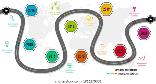 8 years roadmap, project milestones, timeline infographics for annual report and presentation