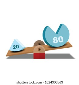 80 and 20 balance on scale,pareto principle scale,80/20 principle isolated on background vector illustration.