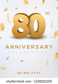 80 Anniversary gold numbers with golden confetti. Celebration 80th anniversary event party template.