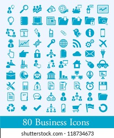 80 business icons, human resource vector elements, communication
