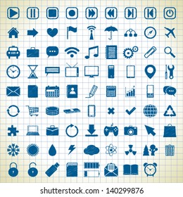 80 different media icons in the style of the sketch. vector eps8