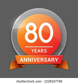 80 / Eighty Years Anniversary Logo with Glass Emblem Isolated. 80th Celebration. Editable Vector Illustration.