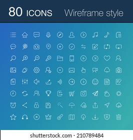 80 line icon set. simple icons for Web and Mobile.Wireframe style