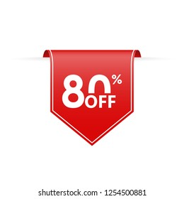 80 percent off. Sale tag ribbon or pennant. Price off and discount badge. Vector illustration.