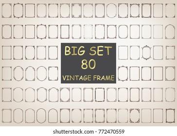 80 set of vintage frames with beautiful filigree, decorative vintage borders, vector illustration