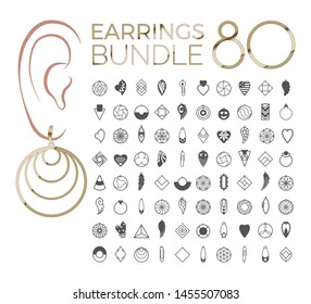 80 vector designs of earring. Cutout silhouette with tribal pattern. Template is suitable for creating unique & quirky jewellery: earrings, necklace or keychain.