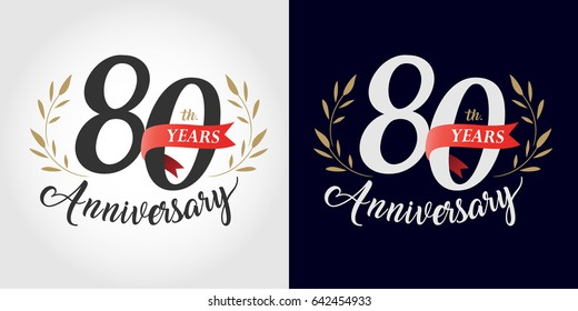 80 years, 80th anniversary, number, hand writing, and red ribbon. vintage style