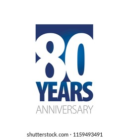80 Years Anniversary blue white logo icon banner