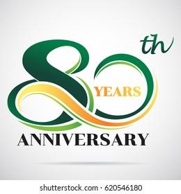 80 years anniversary celebration logo design with decorative ribbon or banner. Happy birthday design of 80th years anniversary celebration.