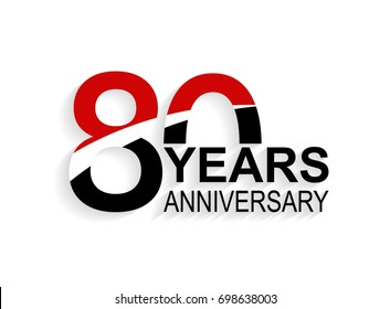 80 years anniversary celebration logotype. anniversary logo with red, white and black color isolated on white background, vector design for celebration, invitation card, and greeting card