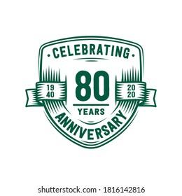 80 years anniversary celebration shield design template. 80th anniversary logo. Vector and illustration.