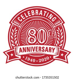 80 years anniversary celebrations design template. 80th logo. Vector and illustrations.